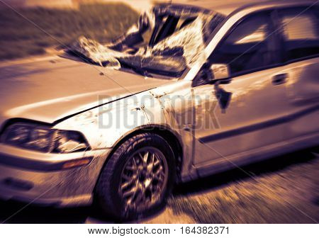 Dramatic scene of a car accident on street damaged cars after collision