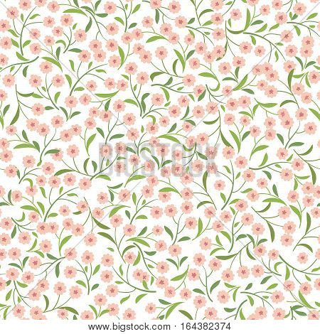Floral pattern with branch and leaves. Fall grass blade ornamental seamless background. Nature herb branch ornamental pattern