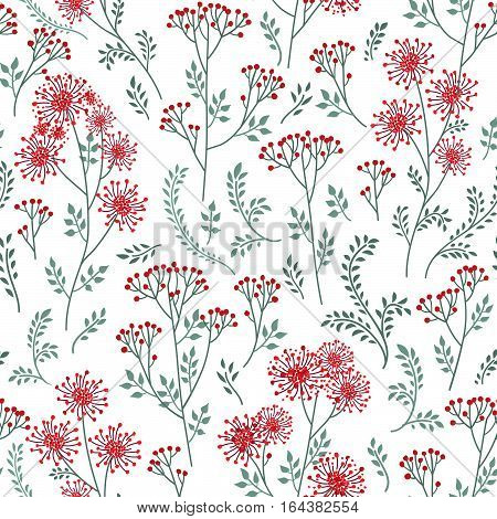 Floral pattern with leaves and flowers. Ornamental herb branch doodle seamless background. Nature plant spring ornament
