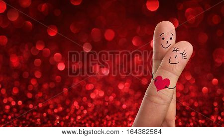 Valentines day wedding concept. Painted fingers pretending happy couple in love with copy space