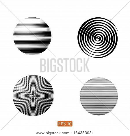 Set Of Abstract Spiral Element. Swirling, Twirling Shape. Vector. No Gradient