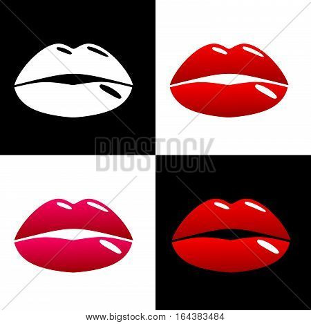 Beautiful lips pop art style. The pattern of square pieces in classic colors. Fashion and beauty