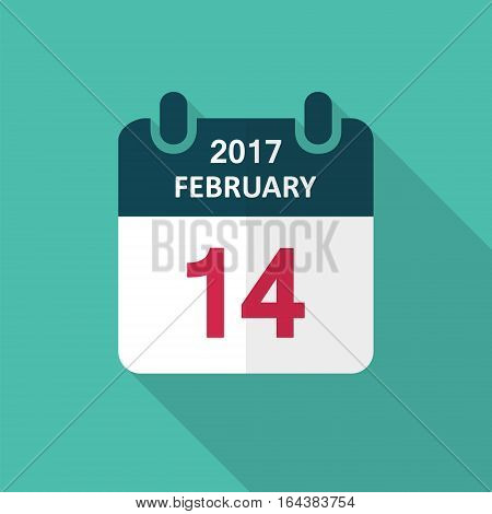 Valentines day calendar icon 14 february vector flat illustration.
