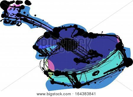 An illustrated and abstract image of an acoustic guitar in bright, festive colors.
