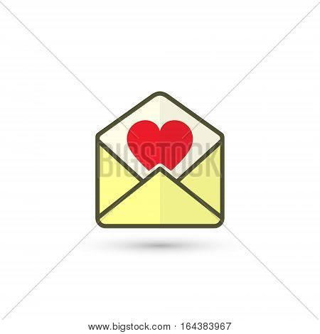 Envelope with Valentine Heart vector isolated illustration.