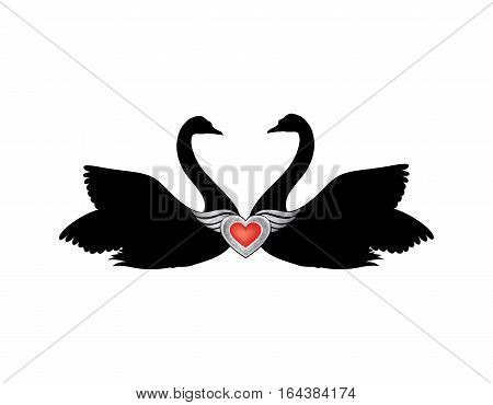 Birds in love with winged red heart decoration. Couple of swans silhouette. Two love hearts concept illustration. Good for wedding St Valentine greeting card decor marriage annivesary design background.