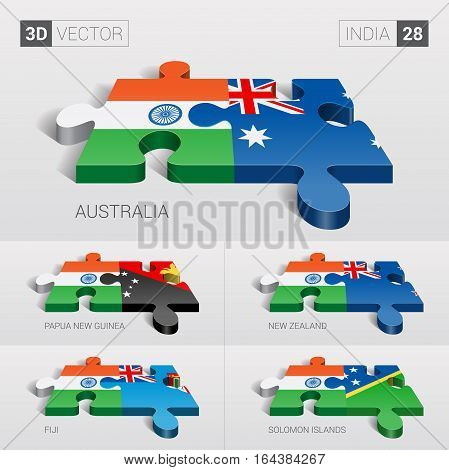 India puzzle part joint with Australia, Papua New Guinea, New Zealand, Fiji, Solomon Islands.