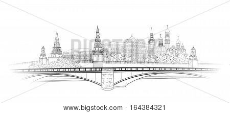 Moscow Kremlin view sketch. City buildings engraving illustration. Russian urban riverside landscape. Moscow cityscape with landmarks: Kremlin towers President palace Ivan Bell Tower Cathedral. Travel Russia background