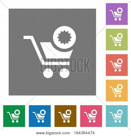 Warranty product purchase flat icons on simple color square backgrounds