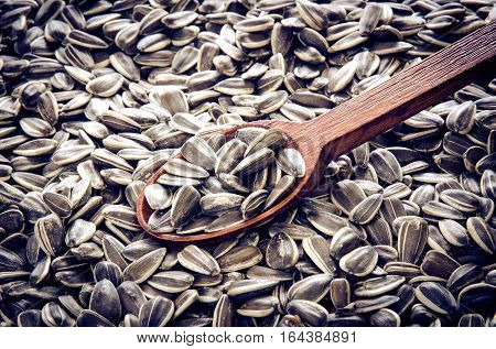 Healthy food. Sunflower seeds with wooden spoon.
