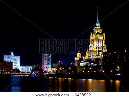 Radisson Royal Hotel in the lights by the river