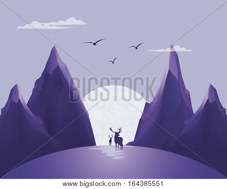 Outdoor mountains background with deer silhuoette on moon. Vector illustration.