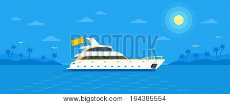 Motor yacht boat in trendy flat design style vector illustration. Seaway ocean transport passenger ship on monochrome blue tropic background with palm trees, clouds, seagulls, sun.