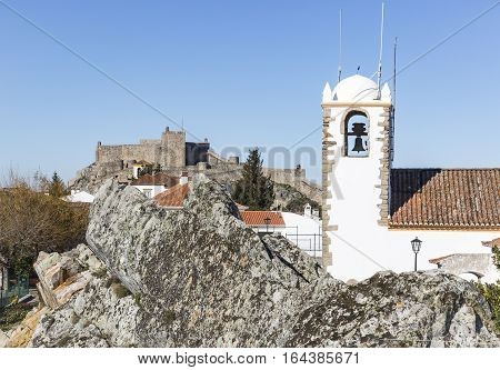 a view of Santiago church and the ancient castle in Marvão town, Portalegre District, Portugal