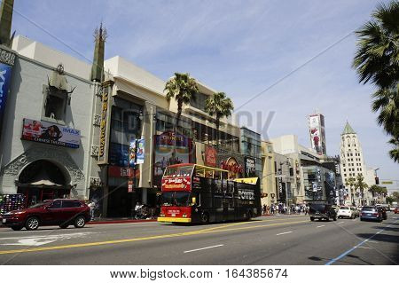 LOS ANGELES CALIFORNIA USA - JUN 01 2015 - view of hollywood boulevard downtown of los angeles