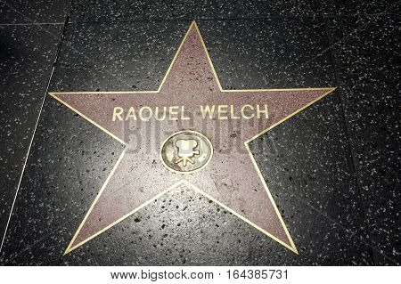LOS ANGELES CALIFORNIA USA- JUN 01 2015 - rachel welch's star at the Hollywood's Walk of Fame