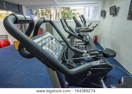 view of the modern gym interior with equipment