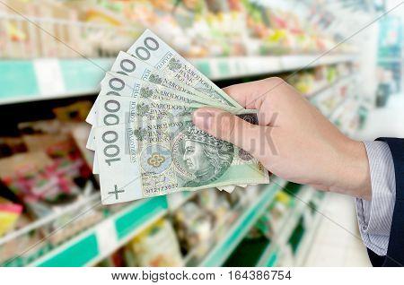 Range Of Polish Banknotes. Shopping At The Supermarket