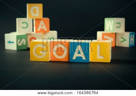 Goal Word With Colorful Blocks