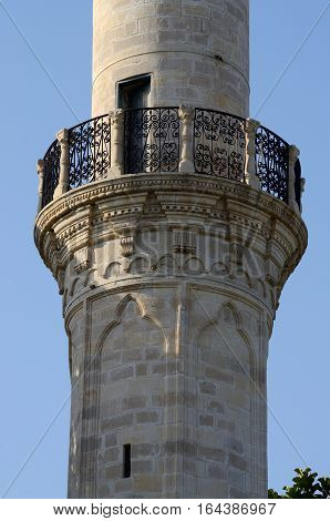 Balcony where mouezzin is singing during namaz time at Larnaca Grand Mosque minaret,Cyprus island,Europe