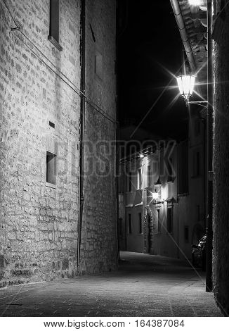 Night narrow street of the old town lit by a streetlamp.