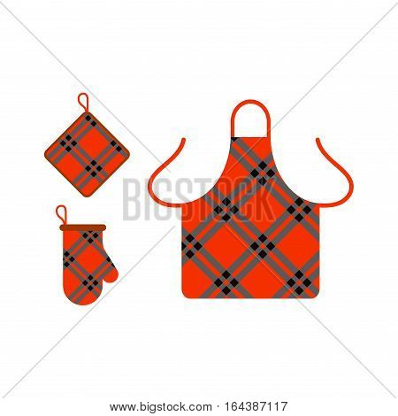 Kitchen apron and potholder food preparation on white. Governess housewives retro clothing vector illustration. Home accessory cotton pocket barbecue textile.