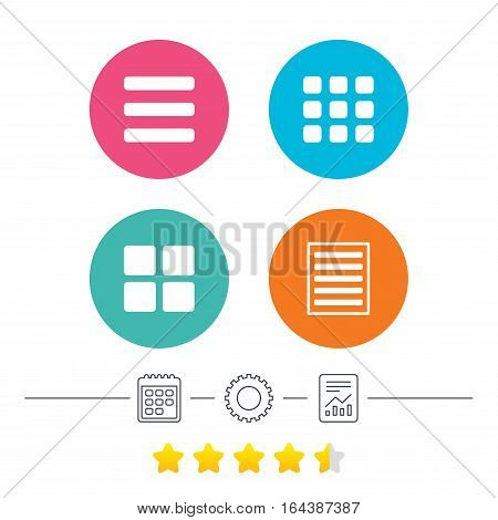 List menu icons. Content view options symbols. Thumbnails grid or Gallery view. Calendar, cogwheel and report linear icons. Star vote ranking. Vector