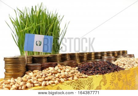 Guatemala Flag Waving With Stack Of Money Coins And Piles Of Wheat And Rice Seeds