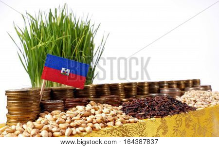 Haiti Flag Waving With Stack Of Money Coins And Piles Of Wheat And Rice Seeds