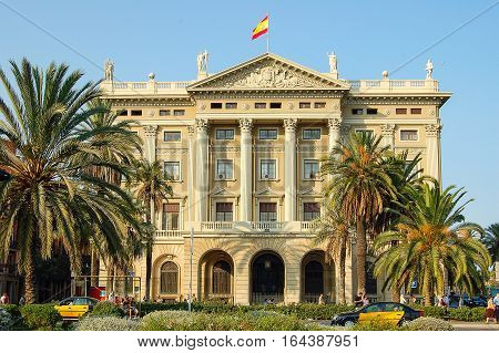 Military Government Building at the head of Passeig de Colom in Barcelona