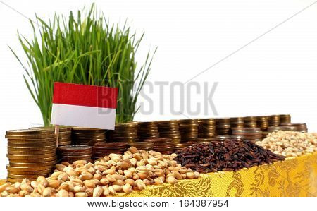 Indonesia Flag Waving With Stack Of Money Coins And Piles Of Wheat And Rice Seeds