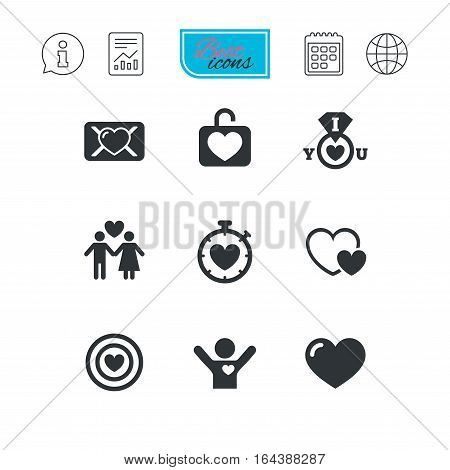 Love, valentine day icons. Target with heart, oath letter and locker symbols. Couple lovers, boyfriend signs. Report document, calendar and information web icons. Vector