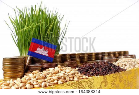 Cambodia Flag Waving With Stack Of Money Coins And Piles Of Wheat And Rice Seeds