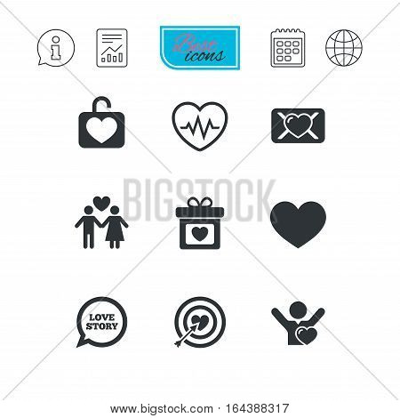 Love, valentine day icons. Target with heart, oath letter and locker symbols. Couple lovers, heartbeat signs. Report document, calendar and information web icons. Vector
