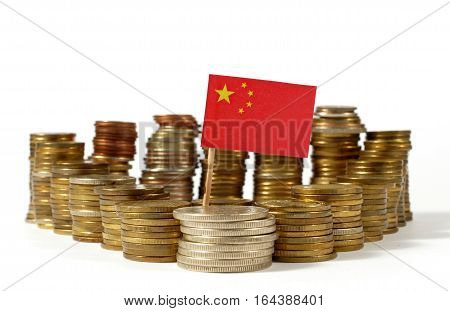 People's Republic Of China Flag Waving With Stack Of Money Coins
