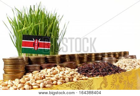 Kenya Flag Waving With Stack Of Money Coins And Piles Of Wheat And Rice Seeds