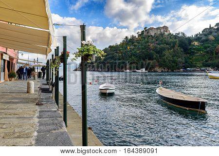 PORTOFINO, ITALY - DECEMBER 11, 2016: Sea bay near Portofino town in Liguria, Italy