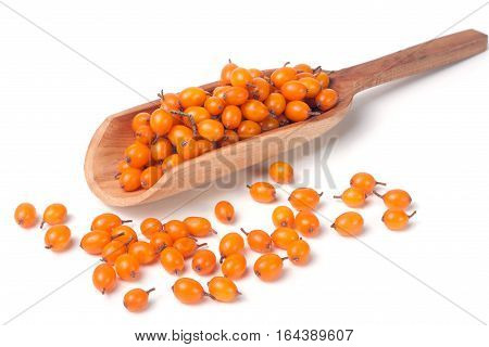 buckthorn berries in a wooden scoop isolated on white background.