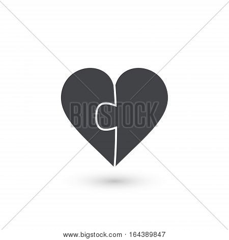 Heart puzzle vector icon made of two pieces. Vector Valentines Day illustration.