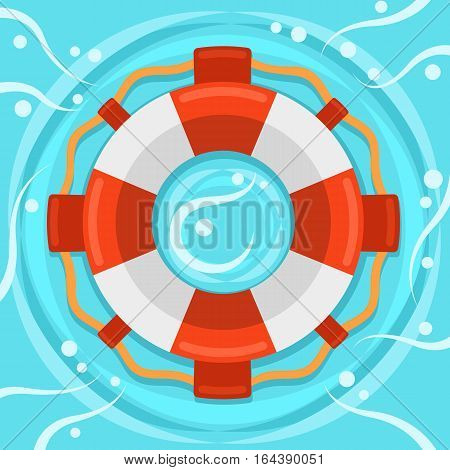 Lifebuoy flat color vector icon, Marine safe theme, blue sea waves and rings flat style teaser banner, life preserver sign, red and white color ring buoy illustration on blue water background