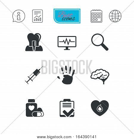 Medicine, medical health and diagnosis icons. Blood, syringe injection and neurology signs. Tooth implant, magnifier symbols. Report document, calendar and information web icons. Vector