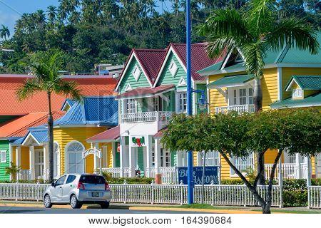 SANTA BARBARA DE SAMANA, DOMINICAN REPUBLIC - CIRCA NOVEMBER 2015: Central streets with brightly painted houses