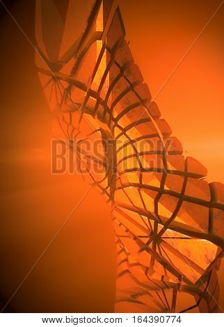 Abstract three-dimensional tower. Illuminated orange volume light 3d rendering
