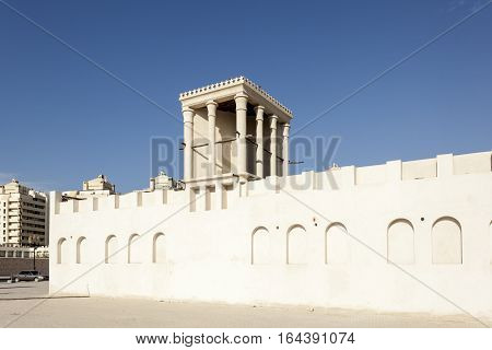 Traditional arabic wind tower in the old town of Sharjah United Arab Emirates