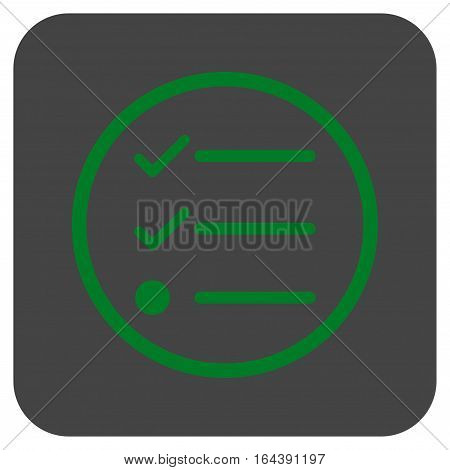 Checklist glyph icon. Image style is a flat icon symbol inside a rounded square button green and gray colors.