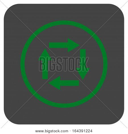 Circulation Arrows glyph icon. Image style is a flat icon symbol inside a rounded square button green and gray colors.