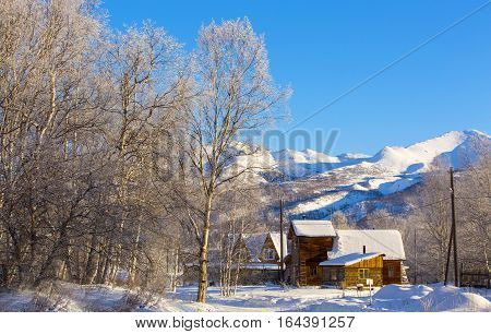 Beautiful winter rural landscape. Solar weather .