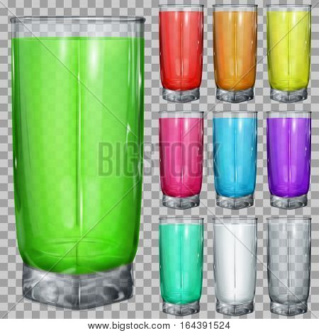 Set Of Transparent Glasses With Multicolored Drinks