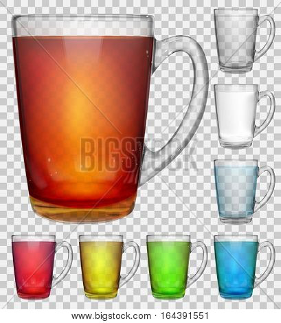 Set Of Transparent Glass Cups With Multicolored Drinks