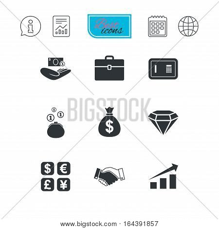 Money, cash and finance icons. Handshake, safe and currency exchange signs. Chart, case and jewelry symbols. Report document, calendar and information web icons. Vector